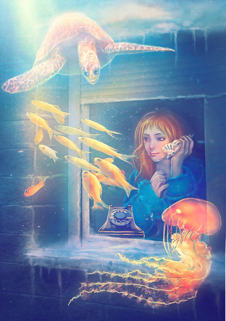 Фото Девушка с ракушкой возле уха стоит у окна, из которого открывается вид на подводный мир, art by DolceCaramella