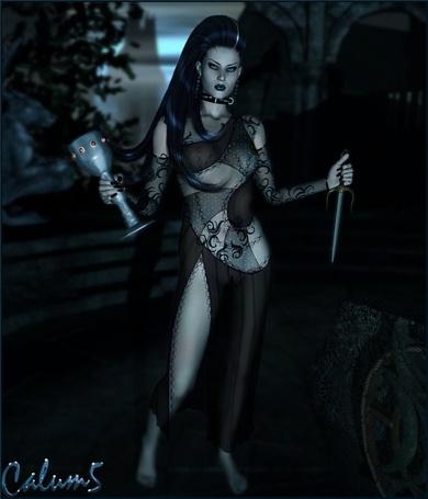 Фото Девушка с длинными черными волосами в руках меч и кубок