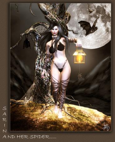 Фото Девушка на фоне дерева с лампой в руке летучих мышей при лунном свете, Sarin and Her Sider,