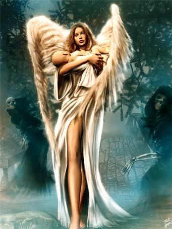 Фото Девушка ангел с младенцем на руках в окружении скелетов