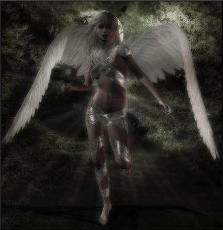 Фото Девушка ангел бежит по тропинке