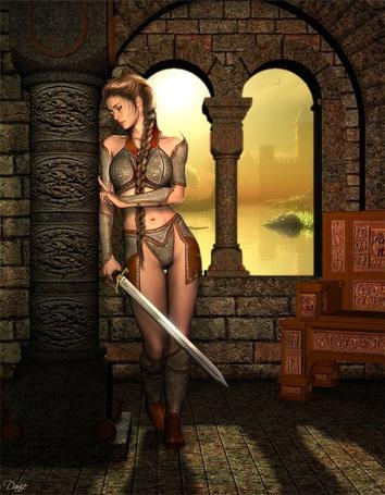 Фото Девушка грустит у окна с мечом в руках