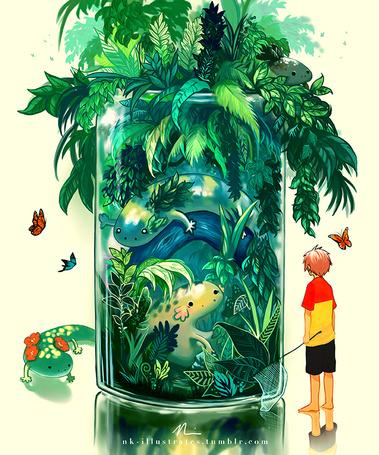 Фото Мальчик стоит перед баначкой с природой и волшебными животными, by Jon-Lock
