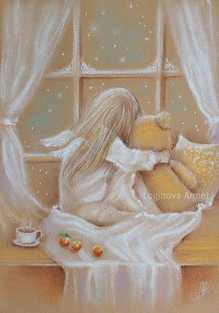 Фото Девочка-ангел в обнимку с плюшевым мишкой смотрит в зимнее окно. Художник Логинова Аннет