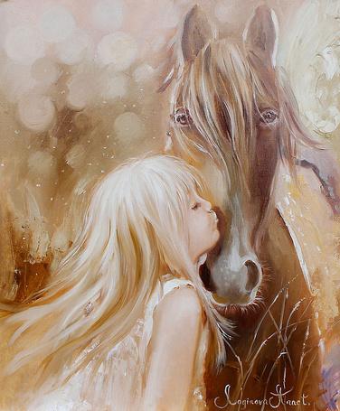 Фото Белокурая девочка целует лошадку. Художник Логинова Аннет