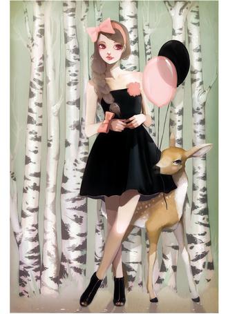 Фото Девушка и олень на фоне берез