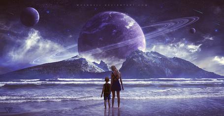 Фото Девушка с мальчиом стоят в воде на фоне планет by Whendell on DeviantArt