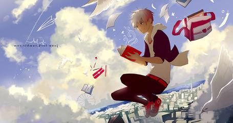 Фото Парень с книгой в руках парит среди облаков над городом, art by jonn-lock