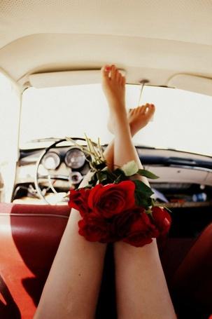 Фото У девушки на ногах лежит букет красных роз