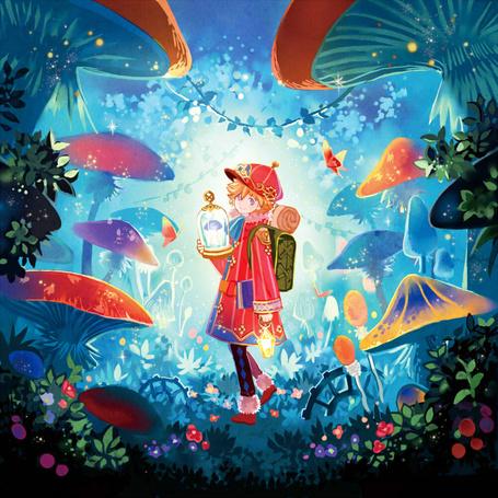 Фото Девочка стоит среди огромных грибов, art by tobi
