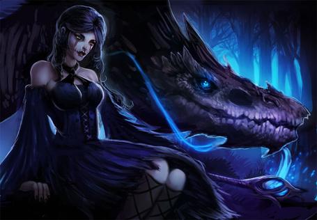 Фото Девушка с драконом в темном лесу, by Magmi
