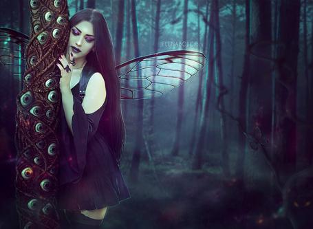 Фото Крылатая девушка возле дерева с глазами, by urbania13