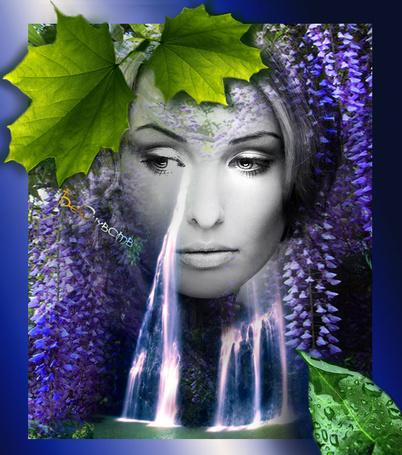 Фото Девушка смотрящая сквозь природу, из глаза водопад, обрамлена цветами и листьями
