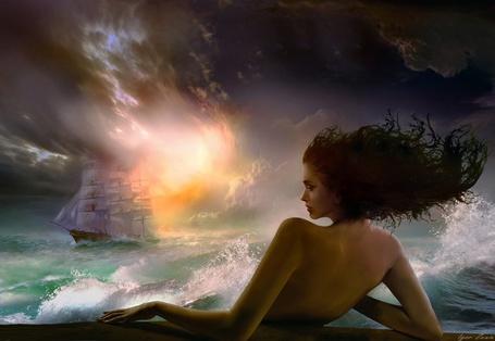 Фото Девушка в море смотрит вдаль на корабль, фотохудожник Игорь Зенин