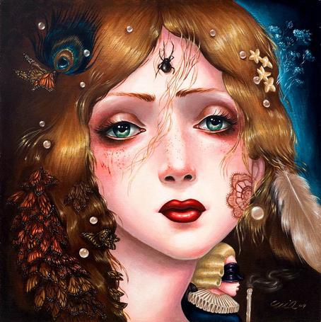 Фото Грустная девушка с красивыми глазами и ярко накрашенными губами паучком на лбу и бабочками в волосах