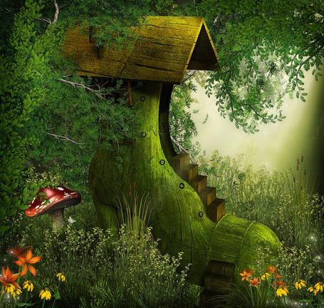 Фото Домик в виде ботинка на фоне фантастического леса