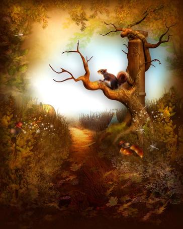 Фото Белочка в фантастическом лесу сидит на дереве на фоне стрекозы и грибов
