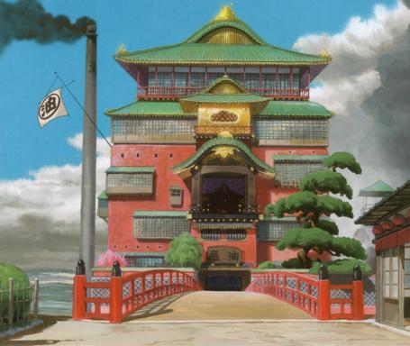 Фото Мост и вход в мир призраков из аниме Spirited Away / Унесенные призраками, художник Kazuo Oga