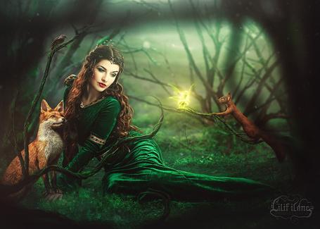 Фото Девушка в зеленом платье и лиса сидящие на поляне смотрят на фею летающую рядом с белочкой сидящей на ветке, by LilifIlane