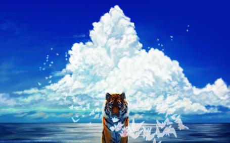 Фото Тигр в окружении бабочек на фоне моря и облаков, by Syphellium
