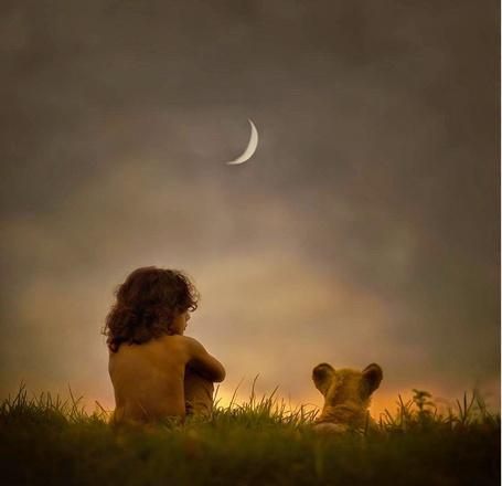 Фото Мальчик и львенок сидят в траве