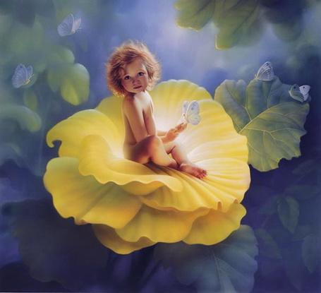 Фото Девочка сидит в цветке на фоне бабочек
