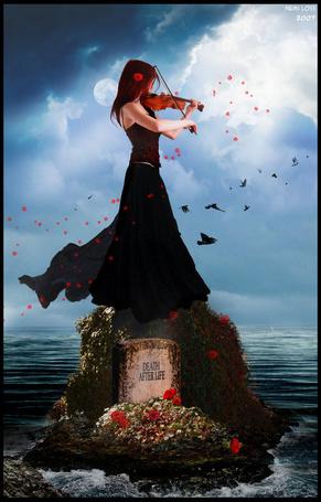 Фото Девушка стоит на камне среди моря на фоне неба, луны, облаков и птиц и играет на скрипке / NEMI LOSS-2007/ /DEATH AFTER LIFE/