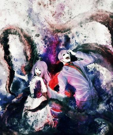 Фото Тсукияма Шу / Tsukiyama Shuu и Rize Kamishiro / Ризе Камиширо из аниме Токийский гуль / Tokyo Ghoul