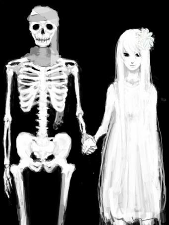 Фото Девушка в белом платье держит за руку рядом стоящего скелета на темном фоне