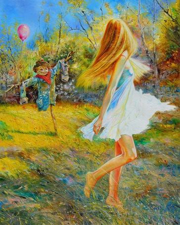 Фото Девушка смотрит на чучело с шарами, by bohomaz13