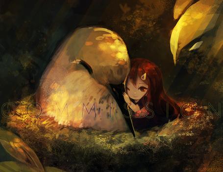 Фото Девочка и птица в гнезде (commission)