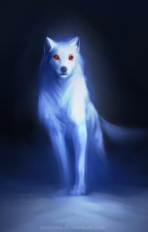 Фото Призрак белого волка с красными глазами, by Zerenma