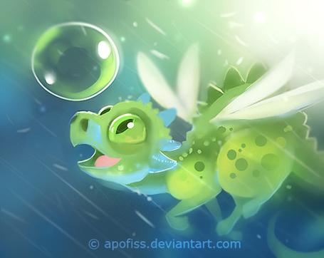 Фото Дракончик смотрит на пузырь, art by Apofiss
