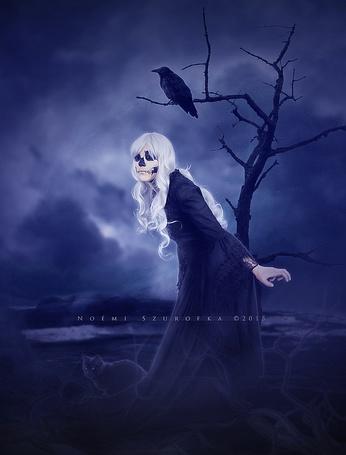 Фото Белокурая девушка с черепом вместо лица, черная кошка и ворон
