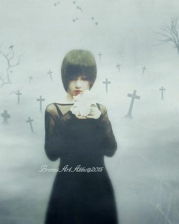 Фото Hoai Minh / NanFe с белой лилией в руках стоит на фоне могильных крестов, теряющихся в тумане, работа BrennsArtAttic