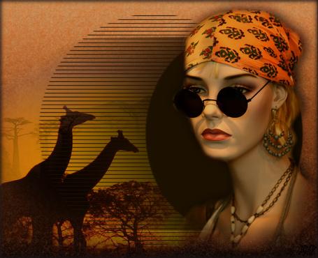 Фото Грустная девушка в очках на фоне жирафов