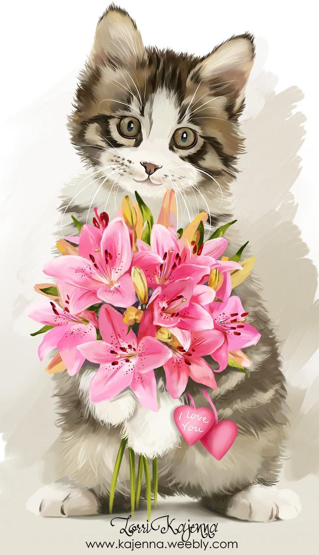 Надписями люблю, картинка с днем рождения кот с цветами