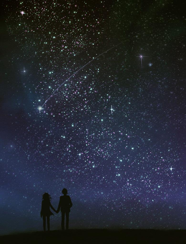 Открытка ночное небо пара, кексиками