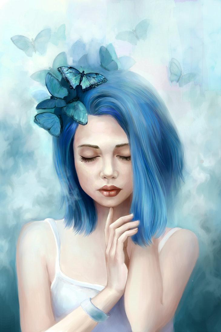 Рисунки девочек с синими волосами