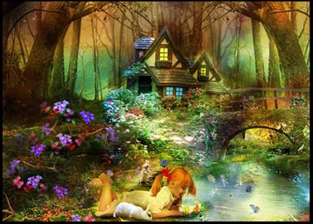 Фото Домик на опушке леса с мостиком через ручей, на берегу которого, в цветах лежит девочка и рассматривает рыбки вместе с кроликом и сусликом