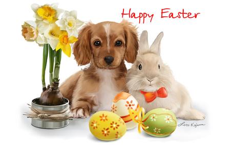 Фото Щенок и кролик лежат рядом с цветами и пасхальными яйцами (Happy Easter), by Kajenna
