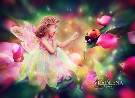 Фото Маленькая фея собирается погладит божью коровку, работа Vladlena111