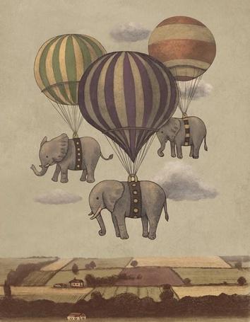 Фото Летающие над полями на воздушных шарах слоны, художник Терри Фан