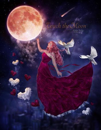 Фото Девушка в окружении голубей протянула руку к луне, by EstherPuche-Art