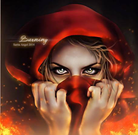 Фото Девушка в красном платке держит руки у лица, by saritaangel07