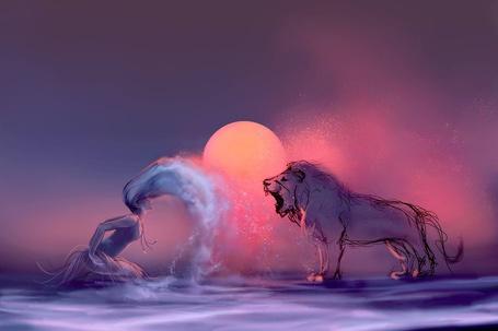Фото Девушка и лев на фоне яркого солнца, ву Cyril ROLANDO