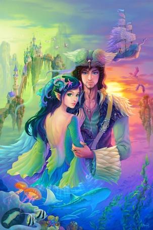 Фото Работа Prince of Heron and Lady of Badal / Принц Heron и леди Badal на фоне сказочного пейзажа, by ninejear