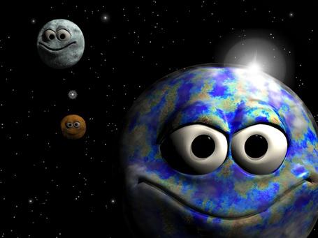 Фото Улыбающиеся планеты в космосе