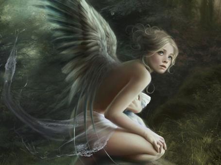 Фото Испуганный ангел на фоне природы