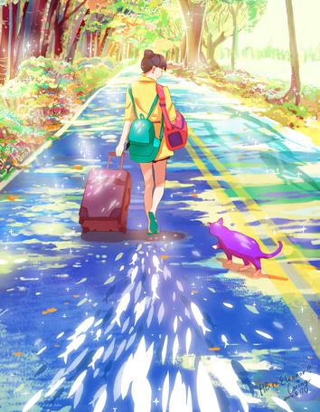 Фото Девушка с дорожной сумой идет по дороге, сзади нее котенок, by CaringWong